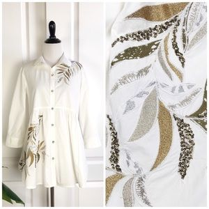 Anthropologie Embroidered White Button Down Shirt